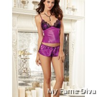 Satin in Mesh Pajamas Set