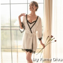 The Satin Collection : Dainty Delicacy in White Robe & Dress Set