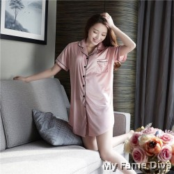 The Satin Pajamas Collection : Buttons-Up Satin Pajamas Dress