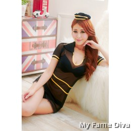 Air Stewardess in Black Costume