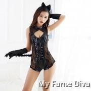 Flirty Leather Kitty 1pc Jumpsuit