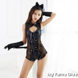 Flirty Leather Kitty 1pc Jumpsuit