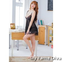 French Ribbon in Black Babydoll