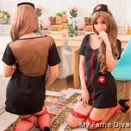Sexy Nurse Costume Zipper Dress set