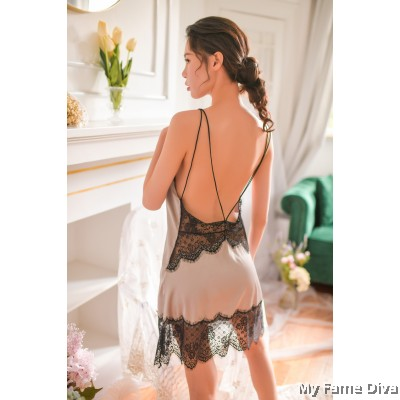 The Satin Collection : Clara Eyelash Lace Nightgown