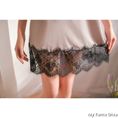 The Satin Collection : Clara Eyelash Lace Nightgown