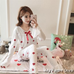 PJ Collections : Sweetie Ribbon Long Sleeve Pajamas Set