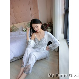 Satin Collection : Dahlia D'Fleur Pajamas 3pcs Set