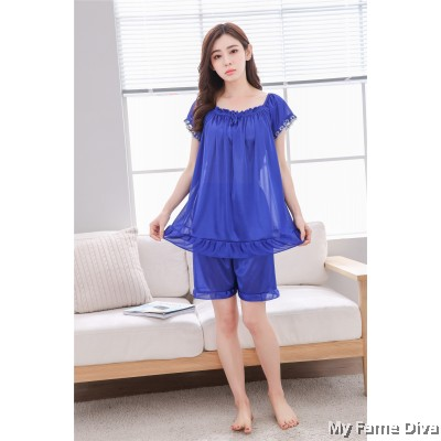 Basic Ruffles Icy Silk Pajamas in Short