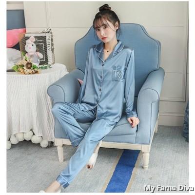 The Satin Pajamas Collection : Buttons-Up LOVE ME Long PJ Pants Set