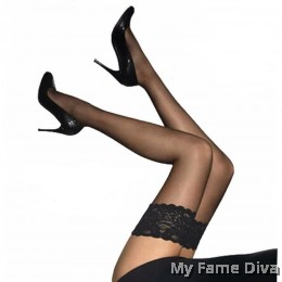 Sheer Lace-up Stocking