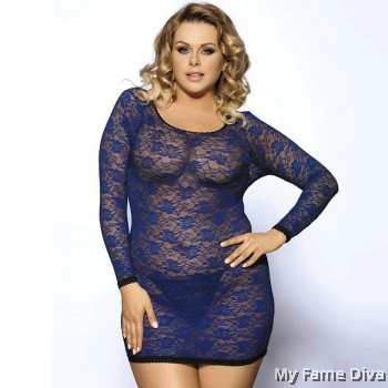PLUS SIZE : Lacey Long Sleeve Bodycon Lingerie
