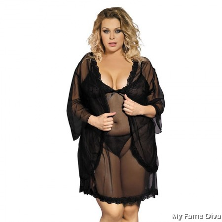 PLUS SIZE : Sweetie Ruffles Babydoll with Robe Set