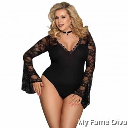 PLUS SIZE : Black Goddess Lace Bodysuit