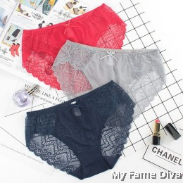 PLUS SIZE : Mid-Waist Lace Sheer Ribbon Briefs