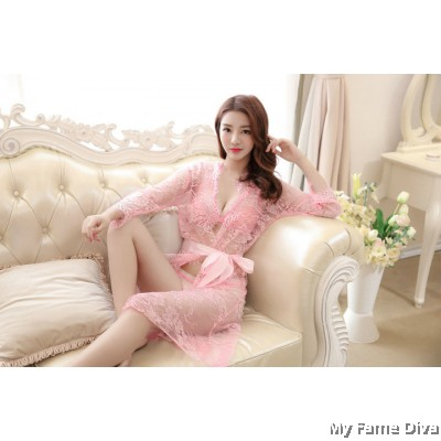 Sheer n Sexy : Lacey Mesh Bra & Panty Robe 3pcs Set