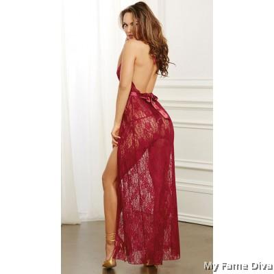 Sexy Plunge-V Bow Babydoll Long Dress