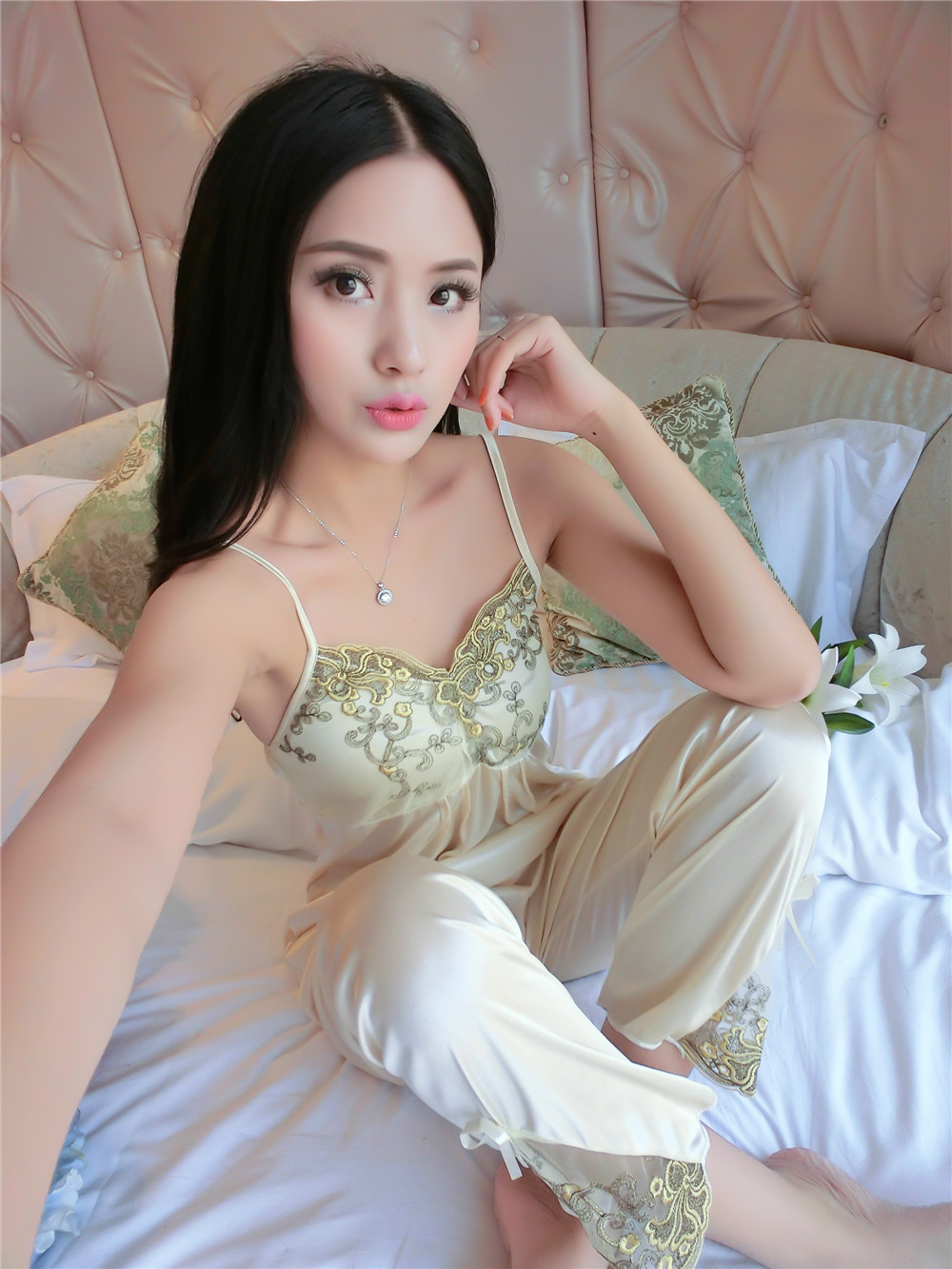 Satin Collection : Dahlia D'Fleur Pajamas 3pcs Set